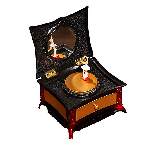 TPSKY Music Jewelry Box With Pullout Drawer And Round Mirror, Dancing Girl Music Box, Creative Dressing Table Jewelry Storage Box, Best Gift For Thanksgiving Day Christmas Valentine'S Day