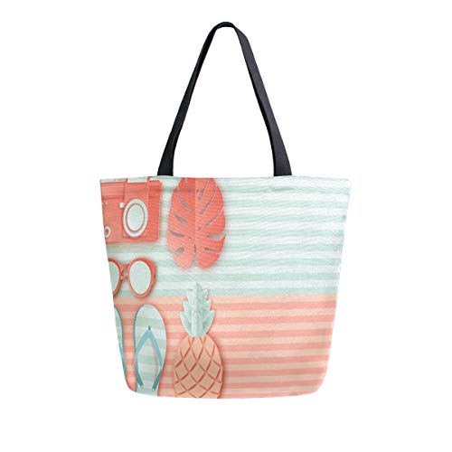 Irud Canvas Tote Bag Pineapple Slippers Palm Leaf Casual Shoulder Bag Large for Women Handbag Grocery Cotton Bag Shopping Purse Reusable Handbag for Outdoors