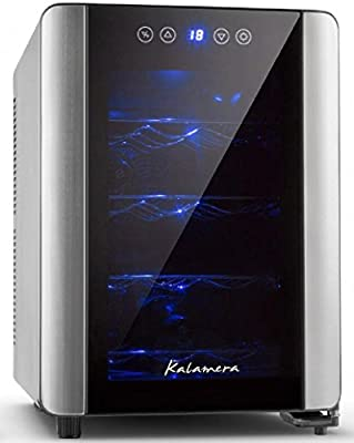 Kalamera KR-12A2E Silent 12 Bottles (up to 310 mm height) Wine fridge , temperature zones 10-18 °Touchscreen Wine Cooler, Wine refrigerator, Black,countertop.