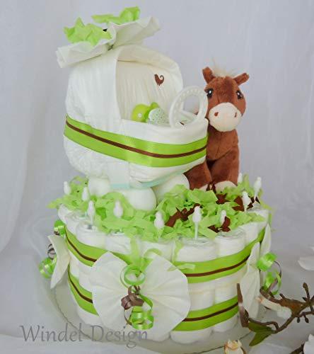 Windeltorte Windelwagen Pferd Pferdchen Geschenk, Babyparty, Geburt oder Taufe, auf Wunsch mit Grußkärtchen, Ostern, Osternest Mädchen, Junge