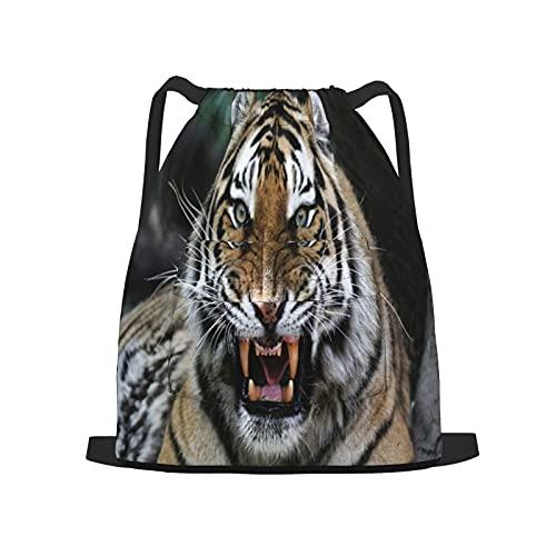 BohoMonos Mochila deportiva con cordón,Cara de tigre con rugido Safari de vida silve, Gym Sackpack para Hombres Mujeres Niños Yoga Travel Camping String Bag.