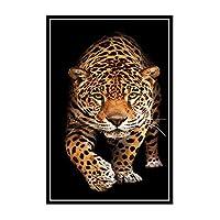 COWIAHE 動物ヒョウポスター画像背景壁の装飾家のリビングルームの装飾-50X70CMフレームなし1個