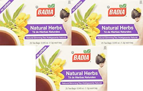 Badia - Natural Herbs Natural Slimming Tea Caffeine-Free - 25 Tea Bags Pack of 3