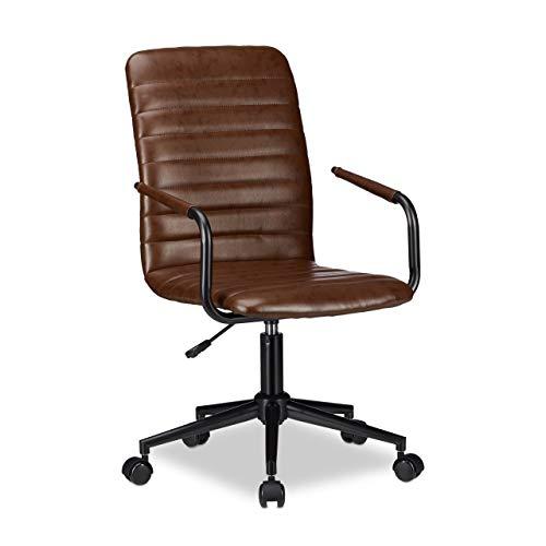 sedia ufficio marrone Relaxdays 10022905 Sedia da Ufficio Altezza Regolabile Girevole finta pelle Comoda Carico max 120 kg HxLxP: 101 x 60 x 60 cm Marrone
