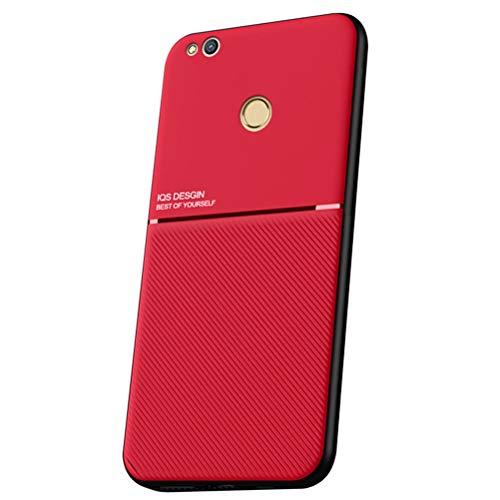 LUSHENG Funda para Huawei P8 Lite (2017), Estuche Anti-Caída de TPU Suave para Huawei P8 Lite (2017) (5.2'), [Excelente Tacto] Placa Metálica Magnética Invisible Incorporada - Rojo