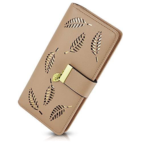 PGXT Women's Long Leather Card Holder Purse Zipper Buckle Elegant Clutch Wallet (Khaki)