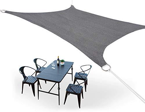 HDPE Toldo Vela de Sombra Cortavientos Transpirable, Toldo Tela, Resistente Rayos UV 95% Solar Protección para Terraza Balcon Jardine Camping Exterior Cuadrado/Rectangular Gris 2×4 m
