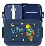 wolga-kreativ Brotdose Lunchbox Bento Box Kinder mit Namen Mepal Obsteinsatz für Jungen Mädchen Waal personalisiert Brotbüchse Brotdosen Kindergarten Schule Schultüte füllen