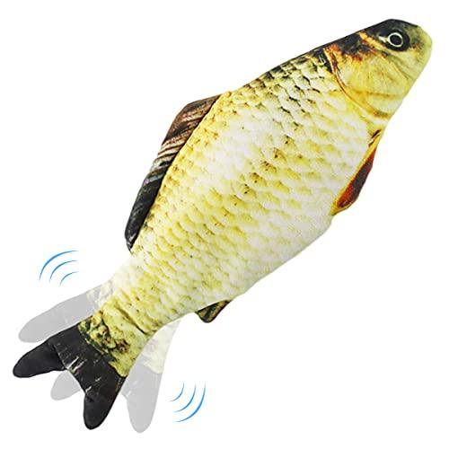 Nepfaivy Juguetes Pez para Gatos - Juguete Interactivo Hierba Gatera, Pez de Simulación de Felpa Móvil con Carga USB, Suministros para Gatos Que Se Pueden Usar para Morder (Yellow Fish)