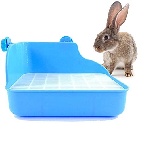 Da.Wa Bac à Litière d'angle pour Animal Domestique Double Maille Triangulaire pour Petits Animaux Hamster Lapin Cochon d'Inde (Bleu)