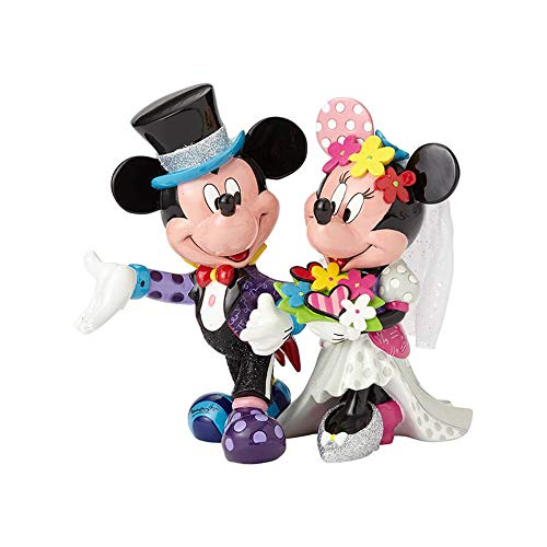 Enesco Disney Britto Figurita Mickey Y Minnie Mouse Figura Novio, Resina, Multicolor, 17x17x19 cm