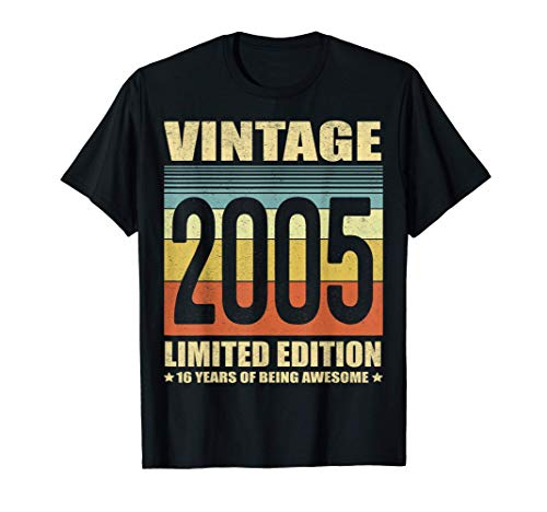 16 Year Old Gifts Vintage 2005 Limited Edition 16th Birthday T-Shirt