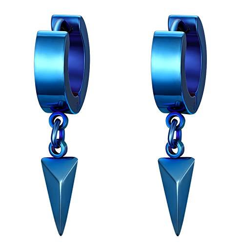 Flongo Pendientes hip hop pendientes de aros para hombre mujer, Pendientes pequeños de acero inoxidable, Azules pendientes triangulos, 1 Par