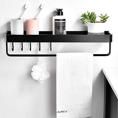 LJLYL Handtuchhalter im Badezimmerregal mit Handtuchhalter und Wandanschluss, Lochfreier Aluminium-Handtuchhalter,60cm