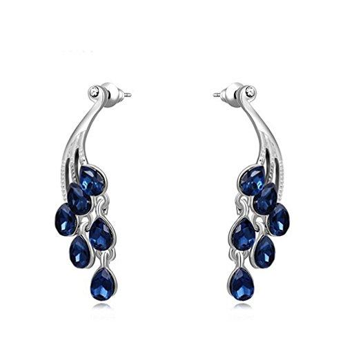 Gudeke La Sra Pavo Real de la Moda Pendientes de diamantes azules simple y elegante de Aleación de oro Rosa de un Par de