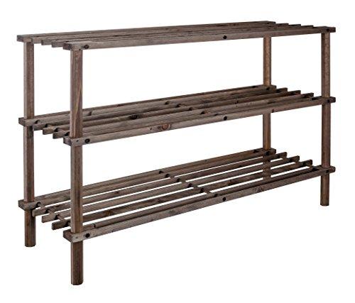 Bambelaa! Schuhregal Schuhschrank Flur 3 Böden Etagen Holz Dunkel Braun Offen 74 x 26 x 49 cm