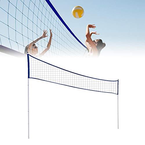Rete da pallavolo con Pali per Cortile, Rete da Tennis da Badminton Regolabile Pieghevole per Esterni per Locali con Parco in Erba
