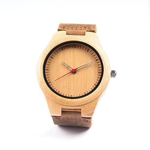 Bobo Bird Hombre de bambú Madera Reloj de Pulsera * Red Bamboo * en Color Marrón con Auténtica Piel Pulsera Hecho a Mano Cuarzo Analógico Reloj con Caja de Regalo