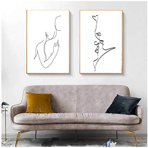 Abstraktes Paar Romantisches Geschenk Küssen Umarmung Malerei Drucken Liebe Schwarz-Weiß-Poster Schlafzimmer Wandkunst Leinwand ainting Dekor 19.7x27.6in (50x70cm) x2pcs Kein Rahmen