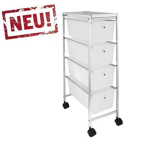 Rollbares Badregal Küchenregal Badtrolley Rollwagen Schubladenwagen Rollcontainer aus Metall Chrom...