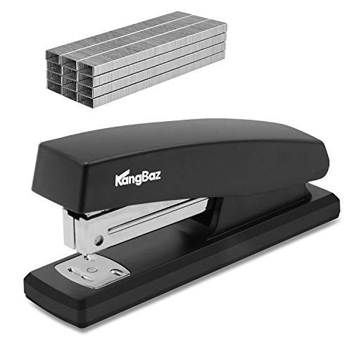 KangBaz Stapler, Office Stapler with 5000 Staples,Classic Desktop Stapler and White Steel Staples, 20 Sheet Capacity(26/6),1/4 inch Staples, Staples Standard,Jam Free,Non-Slip,Black