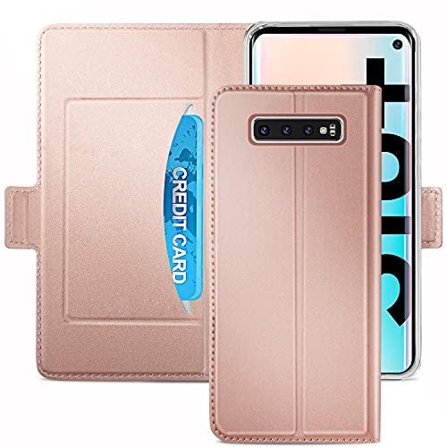 YATWIN Handyhülle für Samsung Galaxy S10 Plus Hülle, Premium Leder Flip Hülle Schutzhülle für Samsung Galaxy S10 Plus Tasche, Rose Gold