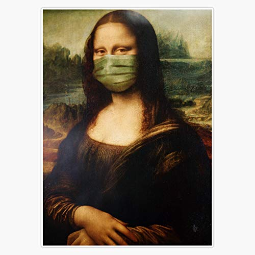 "Covid Corona Virus Monalisa with Mask Decal Vinyl Bumper Sticker 5"""