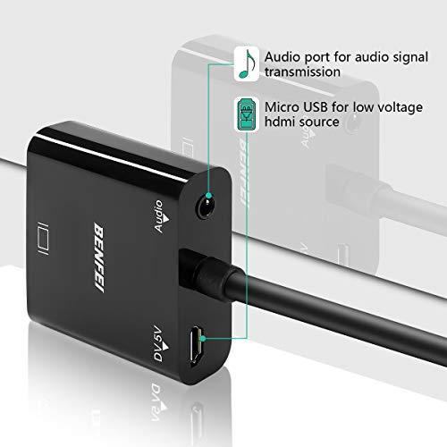 『HDMI to VGA, Benfei 金メッキコネクタ搭載1080P HDMI オス to VGAメスビデオ変換アダプタケーブル PC DVD HDTV用』の4枚目の画像