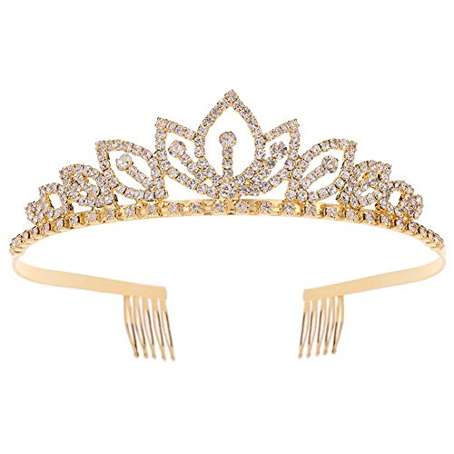 Princess Crystal Tiara Crown with Comb Women Girls Cosplay Party Queen Bridal Wedding Hair Jewelry Headband 5.5'' Gold