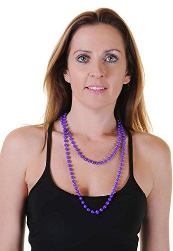 Collar de cuentas redondas de plástico para mujer, 48 pulgadas para mujer, vestido de fantasía casual (48 pulgadas, púrpura)