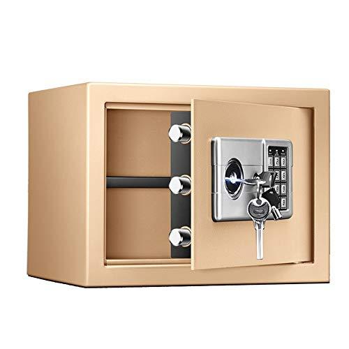 Caja de efectivo segura Caja de seguridad digital sólida aleación de acero Estructura contraseña Plus principales Configuración para el hotel de oficina en casa ( Color : Gold , Size : 35x28x25cm )