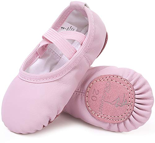 Ballet Shoes Leather Ballet Flats Split Sole Dance Slippers for Girls Toddlers Women Pink 6.5 UK Child (23 EU)