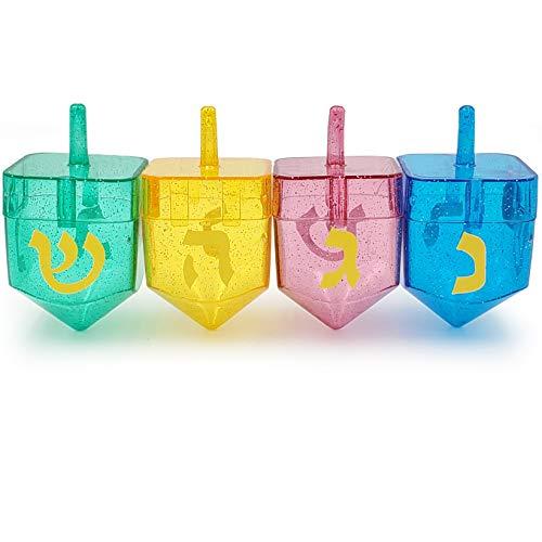 Hanukkah Fillable Dreidel Assorted Colors Can Be Filled with Hanukkah Gelt Or Hanukkah Chocolate (4-Pack)