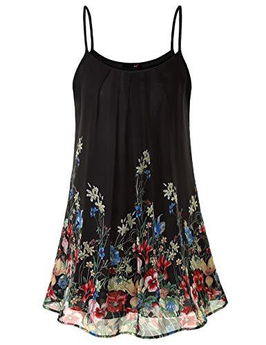 DJT FASHION Blusenkleid Damen Muster Casual Spaghetti Chiffonkleid Blumen Sommer Minikleid Strand A-Linie Blumenkleid Schwarze Floral S