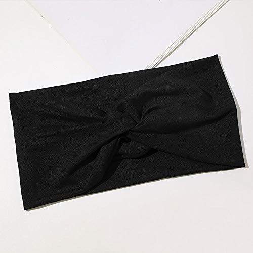 Turbantes para Mujer Diademas Diadema Informal con Nudo Cruzado De Color Sólido para Mujer, Deportes, Yoga, Turbante Trenzado, Diadema Ancha, Accesorios para El Cabello-Negro
