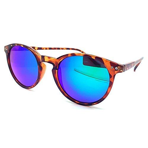 KISS Gafas de sol estilo moscot mod. WAVE Mirrored - hombre mujer REDONDO FIRE retro unisex - LA HABANA/Océano