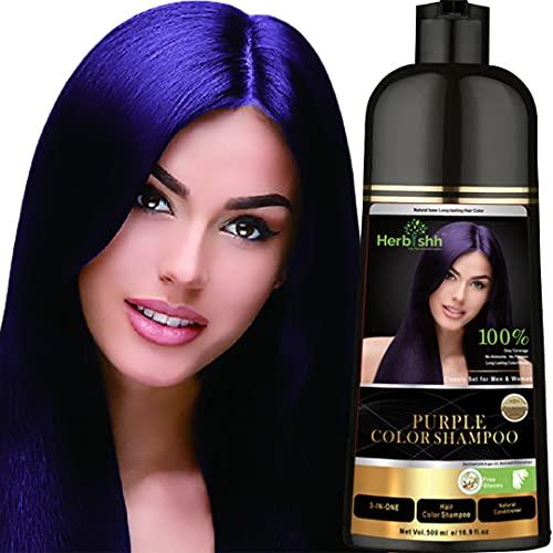 Herbishh Hair Color Shampoo for Gray Hair – Natural Hair Dye Shampoo – Colors Hair in Minutes–Long Lasting–500 Ml–3-In-1 Hair Color–Ammonia-Free   Herbishh (Purple)