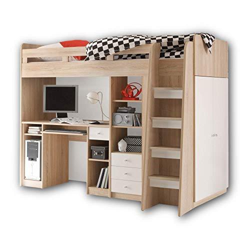 Stella Trading UNIT Hochbett mit Schreibtisch und Schrank 90 x 200 cm - Platzsparendes Kinder Etagenbett in Sonoma Eiche Optik, weiß - 95 x 160 x 204 cm (B/H/T)