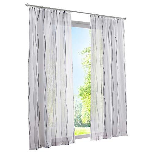 ESLIR Gardinen mit Kräuselband Vorhänge Gardinenschals Transparent Schlaufenschal Wellen Muster Voile Grau BxH 140x245cm 1 Stück