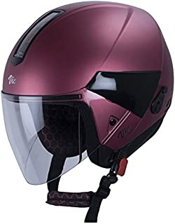 Steelbird Hi-Gn SBH-5 VIC Open Face Helmet with Plain Visor (Female, Metallic Pink, S)