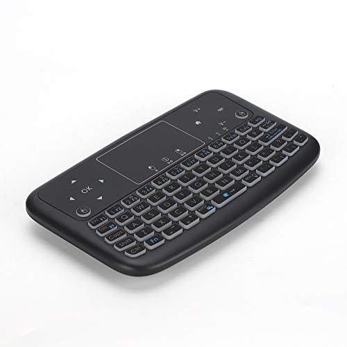 Mini Teclado táctil con retroiluminación Plana, botón 2.4G Teclado inalámbrico Teclas de Mouse Izquierda y Derecha, Teclado táctil inalámbrico Inteligente para PC/Car TV/HTPC, Negro