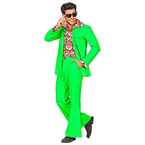 WIDMANN 09391 - Vestito da uomo anni '70, stile discoteca, taglia S, colore: Verde