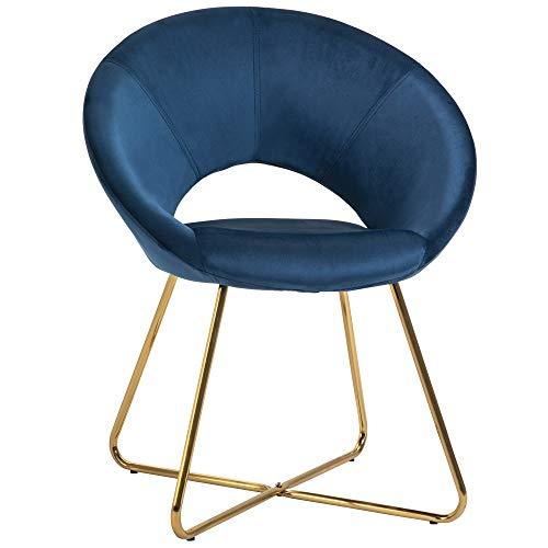 homcom Sedia Imbottita in Velluto Blu con Gambe in Metallo, Poltroncina da Camera da Letto, Soggiorno e Ufficio, 68x54x84cm