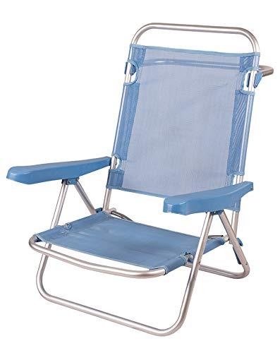 Silla Baja Plegable Evy Aluminio 108x60x78 cm. 5 Posiciones y 4 Colores (Azul)