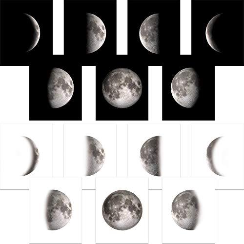 14 Stücke Mondphasen Wand Kunst Druck Mond Poster Schlafzimmer Wand Dekoration für Wohnzimmer Schwarz Weiß Bilder Ungerahmte Drucke 8 x 10 Zoll