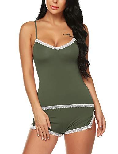 BESDEL - Juego de pijama sexy sin mangas para mujer, camisola, juego de ropa de noche, tallas S-XXL Verde militar claro. L