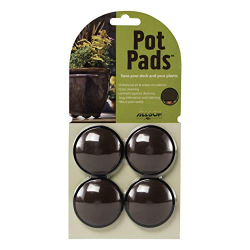 Allsop Home and Garden Pot Pads, Deck and Patio Protection with 3,000 lbs rating, discreet non-skid planter pad lifters / risers / feet / toes, (Cocoa, Set of four, 1-Count)