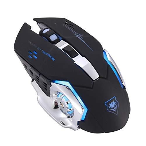 ZNYD 3500DPI de Charge sans Fil 2,4 GHz Gaming Mouse Rétro-éclairage mécanique Mute Souris Optique 6 Bouton réglable DPI for PC Portable (Color : Black 01)