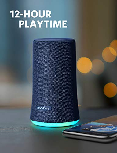Soundcore Flare Portable Bluetooth 360° Speaker by Anker, with All-Round Sound, Enhanced Bass & Ambient LED Light, IPX7 Waterproof Rating and Long-Lasting Battery Life - Blue