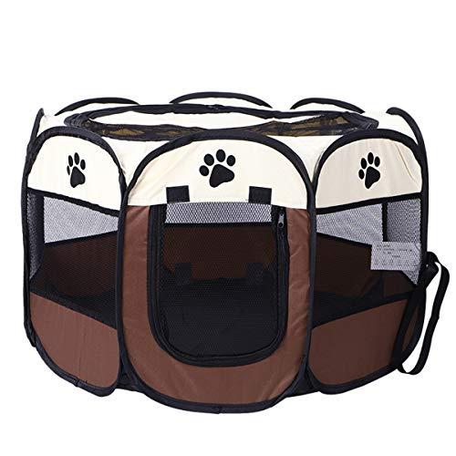 Winich Jaula para mascotas y gatos,plegable,portátil,para jugar para mascotas,de tela suave,plegable,para cachorros,perros,gatos,para mascotas,interiores,exteriores,color marrón